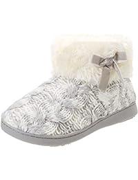 Isotoner Knit Boot Faux Fur Cuff Slipper, Zapatillas de Estar por casa para Mujer