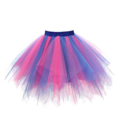 MuseverBrand 50er Vintage Ballet Blase Firt Tulle Petticoat Puffy Tutu Blue/Fuchsia XX-Large/XXX-Large