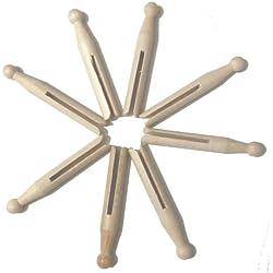 Hagspiel–Pinzas de cabeza redonda, pinzas de ropa de madera, madera de haya, 50unidades., 110mm