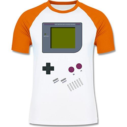 Nerds & Geeks - Gameboy Shirt - zweifarbiges Baseballshirt für Männer Weiß/Orange