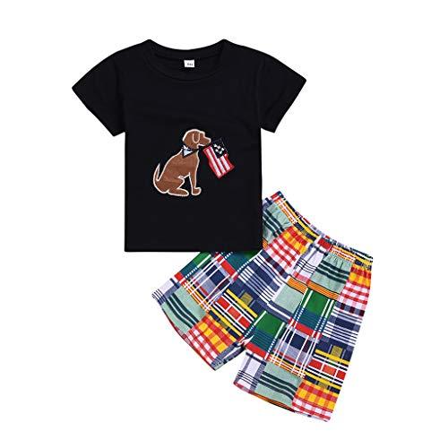 JUTOO 2 Stücke Set Infant Baby Boy Kid Cartoon Gedruckt Tops T-Shirt + Plaid Shorts Outfits Set ()