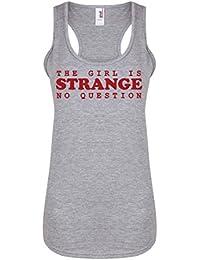The Girl is Strange, No Question - Light Grey - Women's Racerback Vest - Fun Slogan Tank Top (X Small - UK Size 6-8, w/Red)