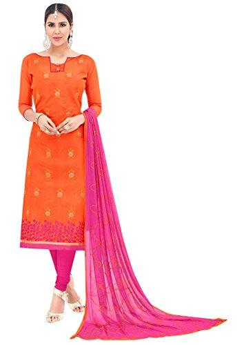 Blissta Women's Chanderi Dress Material (GRGSMR1005_Free Size_Orange)