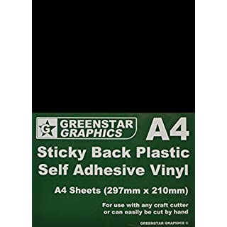 GREENSTAR GRAPHICS ® A4 Black MATT Sheets - Self Adhesive Craft Vinyl (Sticky Back Plastic) Suitable for Silhouette Cameo/Curio/Portrait & Brother Scan N Cut Hobby Craft Cutters (A4 Black MATT 10)