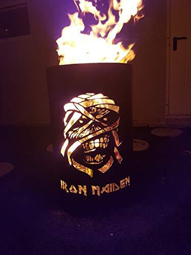 *Tiko-Metalldesign Feuertonne/Feuerkorb mit Iron Maiden Motiv – Skull*