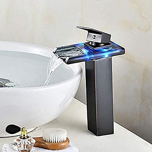 Zentrum Wasserfall Led Anzeige Keramikventil Öl Schleifen Bronze Waschbecken Wasser E Kopf Badewanne Wasserhahn (Led Waschbecken Kopf)