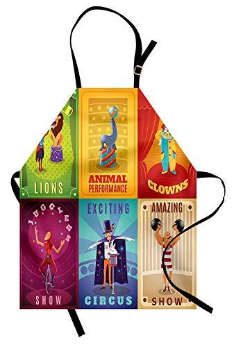 Zirkusschürze Zirkusfiguren mit ausgebildeten Tieren starker Mann Trapez Künstler Retro-Show Unisex Küchen-Lätzchen Schürze mit verstellbarem Hals zum Kochen Backen Mehrfarbig
