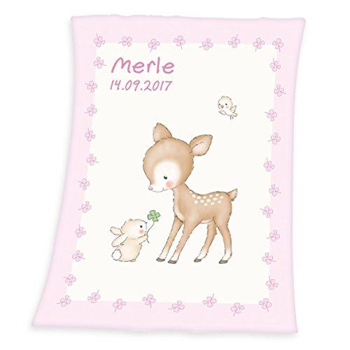 Wolimbo Flausch Babydecke mit Ihrem Wunsch-Namen und Rehkids Motiv 75x100 cm für Mädchen und Jungen