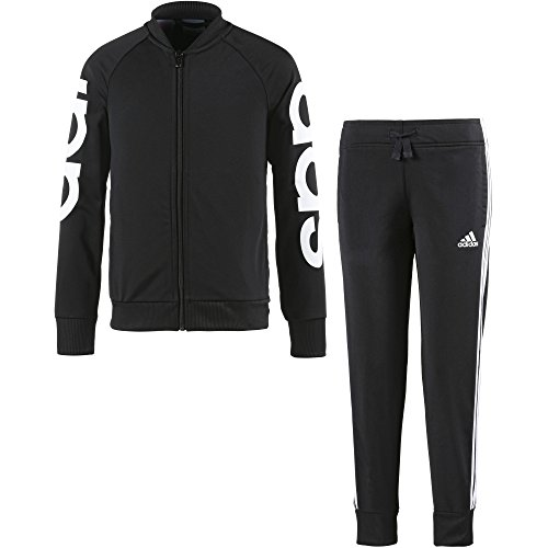 adidas Girl's PES Track Suit - Black/White/Black/White, Size 14-15Y