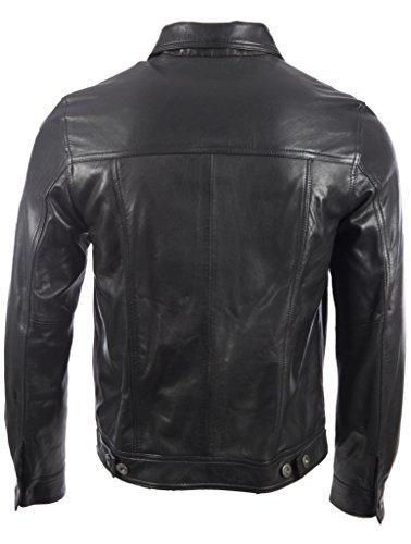 Hommes Classique Veste De Motard Très-élégant Cuir Véritable Très Doux Par MDK Noir
