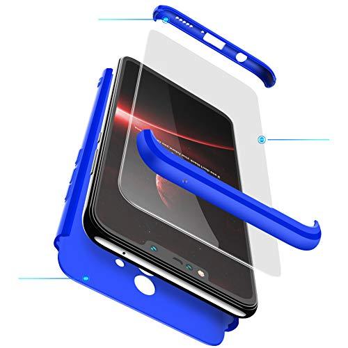 xinyunew Funda Compatible con Xiaomi Mi MAX 2,360 Grados Protección Case + Pantalla de Cristal Templado,3 in 1 Anti-Arañazos Carcasa Case Caso Fundas teléfonos Móviles para - Azul