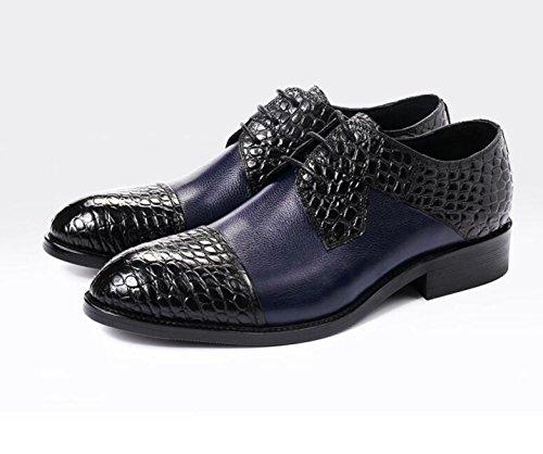 GRRONG Chaussures En Cuir Pour Hommes Chaussures De Costume D'affaires Rondes Et Cuir blue