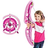 Kids Toy Bow & Arrow Archery Set With Arrow Holder With Target Stand - LED Light Up Function - Hunting Series Toy For Boys And Girls-Pink