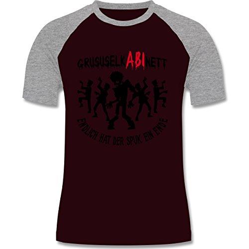 Abi & Abschluss - GruselkABInett- Endlich hat der Spuk ein Ende - zweifarbiges Baseballshirt für Männer Burgundrot/Grau meliert