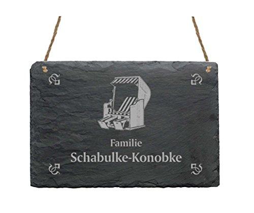 Schiefertafel « Familie -IHR NAME- » mit STRANDKORB Motiv - 22 x 16 cm - Türschild aus Schiefer - Ostsee Strand Rügen