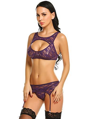 Strapsen Dessous Set erotische Reizwäsche Nachtwäsche Unterwäscshe hot Lingerie Lace Bustier Spitzen-BH und Slip mit Strumpfband