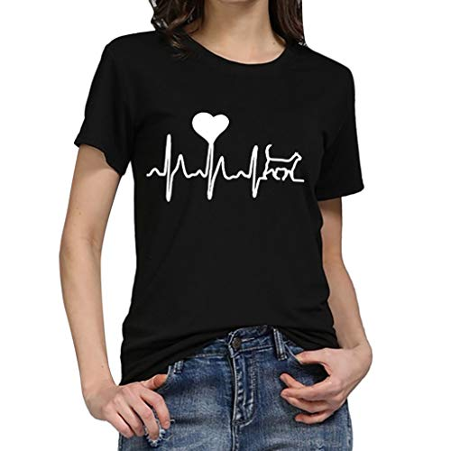 Andouy Damen Electrocardiogram Love T-Shirt mit Print Oansatz Kurzarm Plus Size Gr.36-46 Slouch Bluse Oversize(S(36),Schwarz)