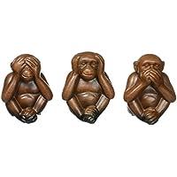 Accattivante scimmia in ceramica set di 3 - Male Scimmie Sagge