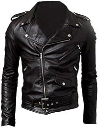 Finejo Men's Fit Punk Zip Motorcycle Jacket