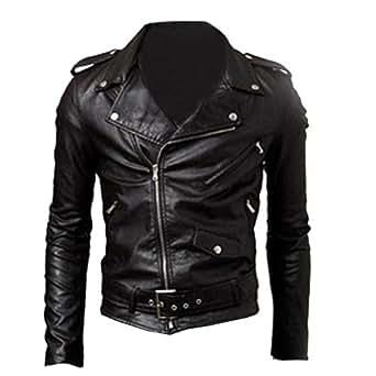 Finejo Men's Fit Punk Zip Motorcycle Jacket Medium Black