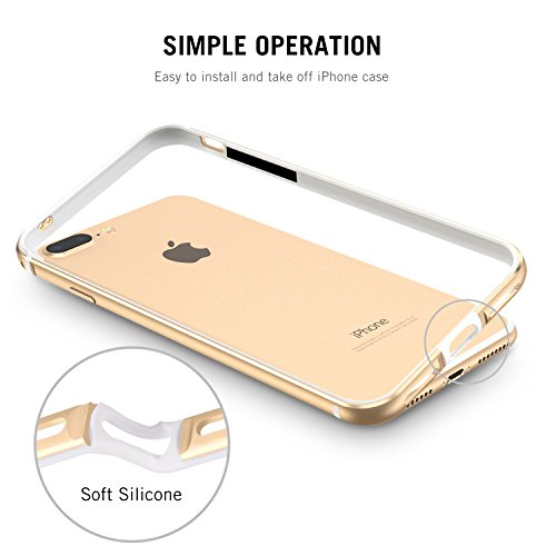 iPhone 7 Plus Hülle, iPhone 8 Plus Hülle, RANVOO Bumper Hülle Aluminium Rahmen + Innen Gepolstert TPU Metall Bumper case for iPhone 7 Plus/8 Plus 5,5 Zoll, Rot Gold