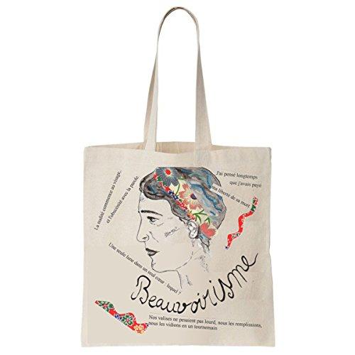 Tote Bag Imprimé Ecru - Toile en coton bio - Simone de Beauvoir