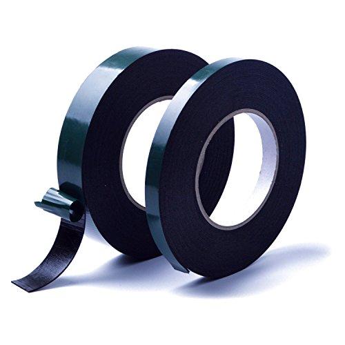 euhuton 2 Stk Doppelseitiges Schaumstoffklebeband selbstklebendes Schaumband, Acrylklebstoff, Geschlossenzelliger Polyethylen Länge 15 m, Breite 12 mm und 25 mm, Gesamtdicke 1 mm, Schwarz -