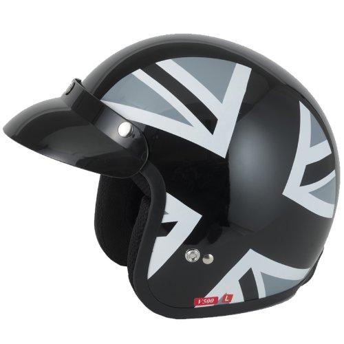 Vcan V500Open Face moto casco S Black Jack
