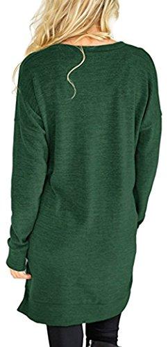 Yeesea Donna Casual Maniche Lunghe Maglie Blusa Top Elegante Tunica T-shirt Felpa Pullover Verde
