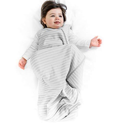 Woolino Baby-Schlaf Tasche 4 Jahreszeiten grundlegende Merino Wolle Baby-Schlafsack 6-18 Monate Gray -