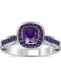 Silvernshine 2Ct Asscher Cut Amethyst CZ Dimoands 14K White Gold Pleated Engagement & Wedding Ring