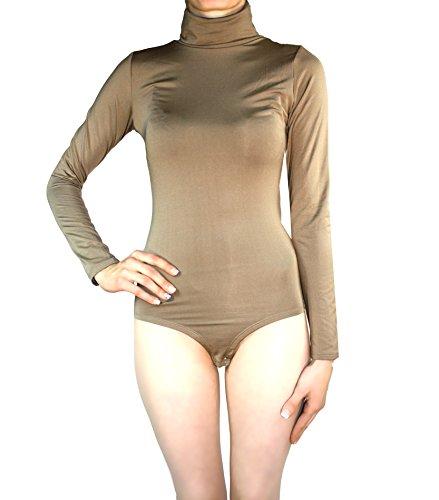 Muse Thermo Body Damen Langarm Rollkragen Thermobody Elastisch l Bodysuit Top Vielen Farben Größe S M L (S/36, Hell-Braun)