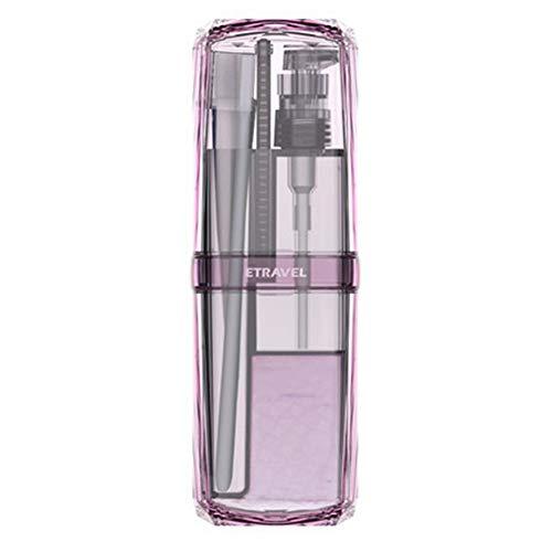 erhuo Waschbecher Zahnbürste Zahnpasta Abgabe Flaschentuch Kamm tragbare Reisewaschset, lila