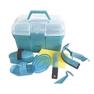 Amesbichler Hippo-Tonic Putzbox Putzkiste befüllt für Kinder Farbe: türkis Pferdepflege oder für Schaukelpferd Pferde Putzset Pferdeputzzeug Pferdepflege