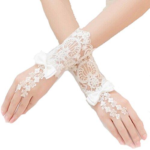 Brauthandschuhe fingerlos kurz Weiß Ivory Braut Handschuhe Perlen Hochzeit Spitze Stulpen (Weiß)