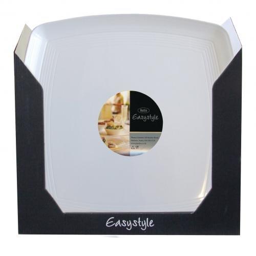 Plastico R1006wh Platter-customer carré Plastique Affichage de l'ONU, Blanc (lot de 36)
