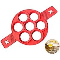 Neue Nonstick Silikon Ei Ring Pfannkuchen Form, verbesserte Silikon auslaufsichere Design, Fast&Einfache Möglichkeit Perfekte Pancakes