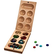 Folding Mancala Game - Solid Maple Wood & Glass Stones (Made in USA)