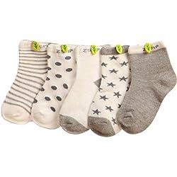 Tefamore Calcetines Bebé De Cortos Pantuflas Niños de Dibujos Animados (5 parejas) (M: A la edad de 1 a 3 años, 5 parejas)