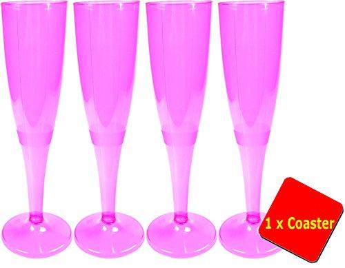 ne Stück Einweg Hot Pink Champagne Flöten/Gläser. Kapazität 160ml (6oz). Ideal für Taufen, Baby Duschen, Hen Do 's und besondere Anlässe. bieten 10Stück Gläser mit 2x Aios Getränke Mats. Geeignet für processco, champagner, glänzend Wein, Sekt und Champagner Cocktails. (Einweg-gläser)