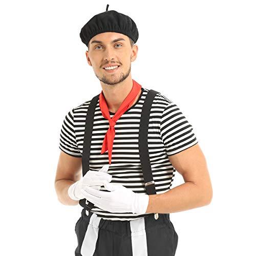 inhzoy Herren Pantomime Cosplay Kostüm Set Erwachsene Mime Clown Zirkus Outfits für Halloween Fasching Performance Schwarz-Weiß Schwarz (Zirkus Kostüm Für Erwachsene)
