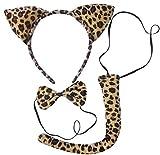 (Leopard ears Set) Wildkatze Kostüm Set mit Ohren, Fliege, und Schwanz