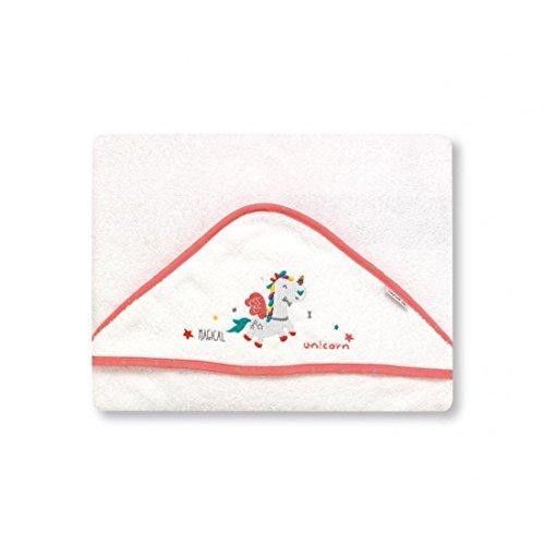 pirulos 00713219–maxicapa, Einhorn, 100x 100cm, weiß/erdbeere