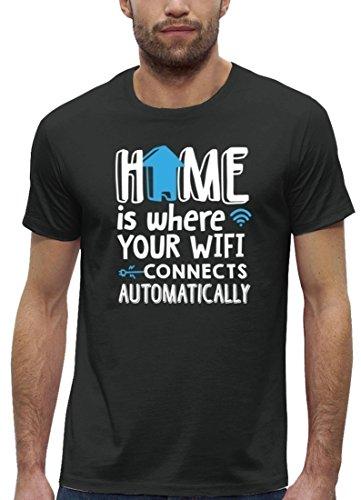 Lustiges Nerd Premium Herren T-Shirt aus Bio Baumwolle Home Wifi Motiv Stanley Stella Anthrazite