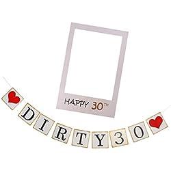 MagiDeal Ghirlanda Cheers Per 30 Anni / Banner Dirty 30 + Foto Booth Prop Selfie Cornice Decorazione Festa Di Compleanno - dirty 30