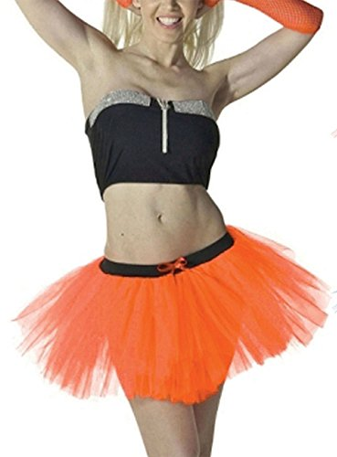 Dress Chick Rock Kostüm Fancy - Crazy Chick Neu Damen 1980s Jahre Neon Tutu Rock Fancy Dress 3 Schichten Sexy Jungesellinnenabschied Party Kostüm Röcke UK Größe 8-20 3 Schichten Orange Tutu Rock, X-Large