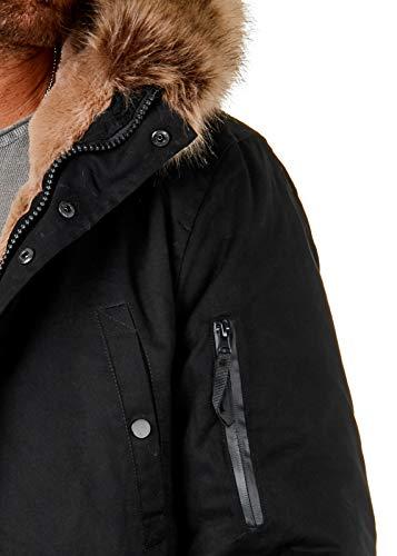 EightyFive Herren Winter-Parka Winterjacke Kunstfell Kapuze Gefüttert Teddyfell Schwarz Khaki Beige Camouflage EF1720, Farbe:Schwarz, Größe:XS - 5