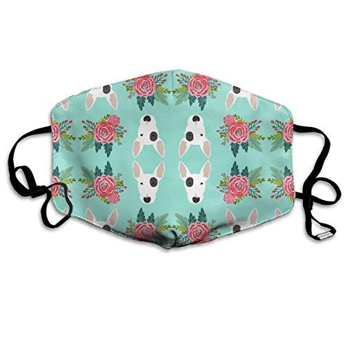 Preisvergleich Produktbild Nicegift Bullterrier Blumen Bull-Gesichtsmasken Atmungsaktiv Staubfilter Masken Mundschutz Maske mit elastischer Ohrschlaufe
