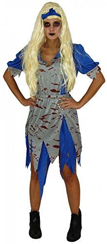 Foxxeo Zombie Alice Kostüm für Damen zu Halloween Blau-Graues Kleid und Haarband Größe L