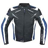 Blouson Cuir Motard Moto Sport CE Protections Vachette Gilet Thermique bleu L